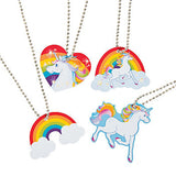 UNICORN PARTY Favour Necklaces Rainbow Favours Unicorns Metal x 4 Free Postage