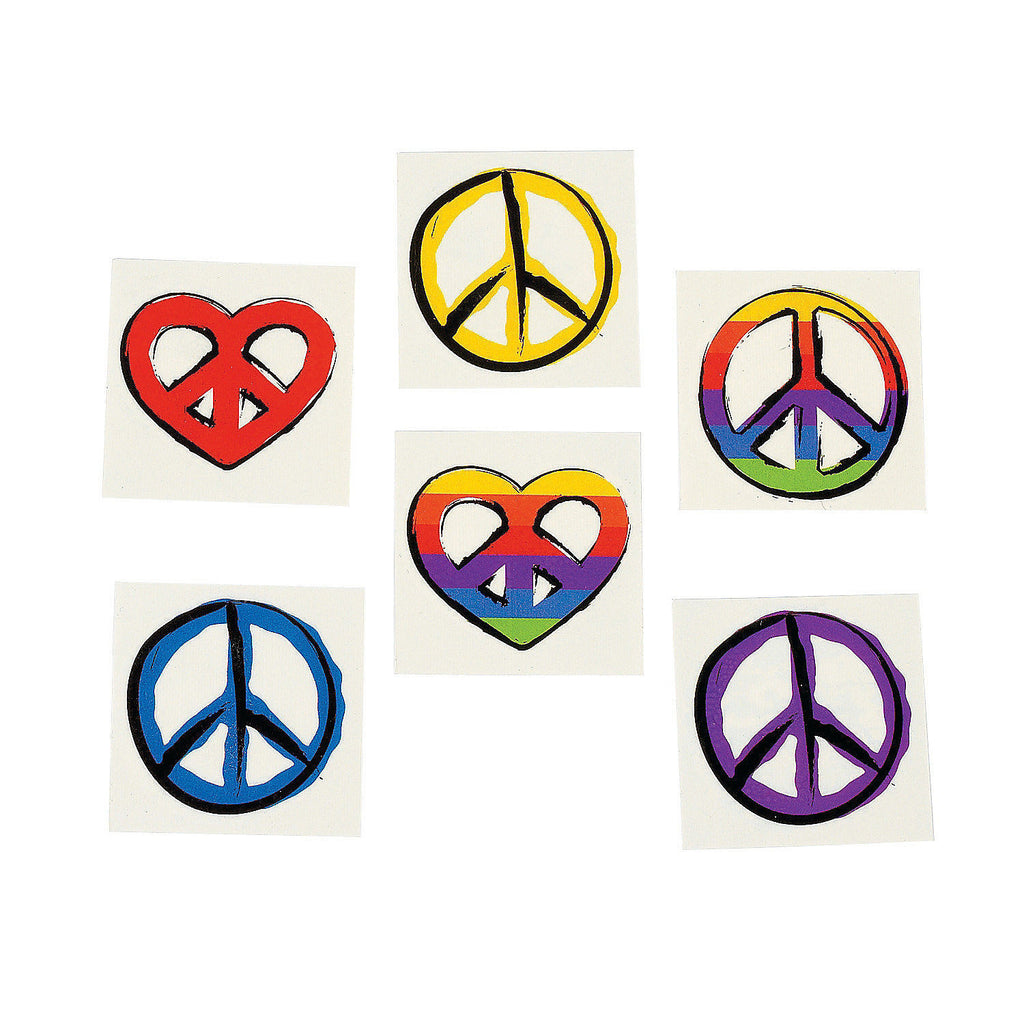 HIPPIE PARTY - PEACE SIGN TATTOOS ~   Temporary Tattoo - pack of 36 - Free Delivery