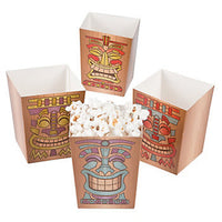 BEACH PARTY Tiki Mini Popcorn Boxes Gift Favour Treat Box Set of 4 Free Postage