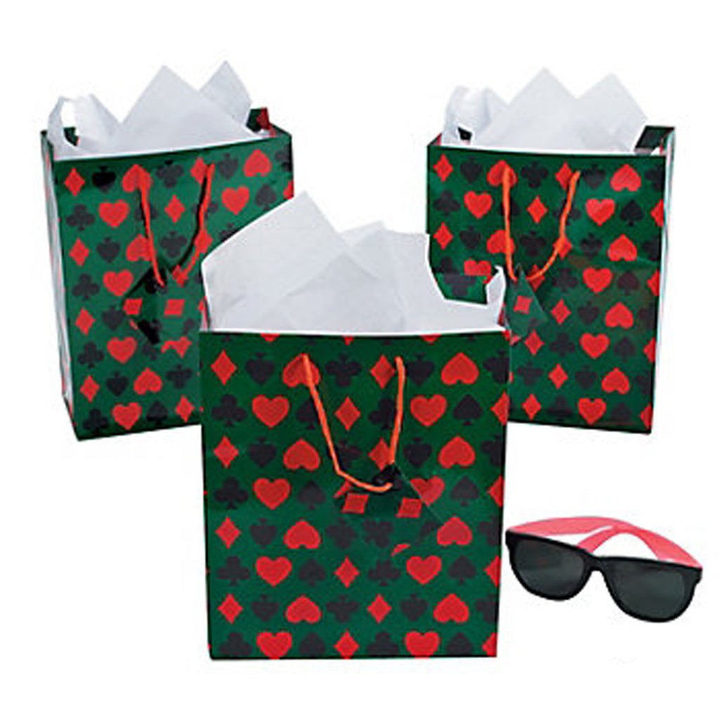 CASINO PARTY~ Card Symbol Gift Bag 19cm x 23cm with Cord Handles - pack of 3 - Free Delivery