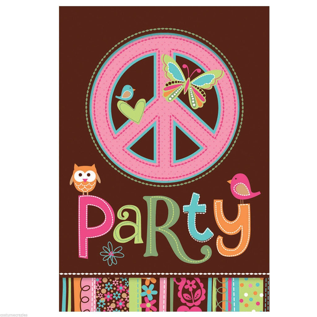 60s HIPPIE PARTY Hippie Invites with Envelopes Pack 8 Invitations Free Postage