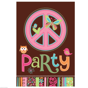 60s HIPPIE PARTY Peace Sign Invites with Envelopes Pack 8 Invitations Free Postage