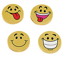 EMOJI PARTY Pencil Erasers Smiley Face Emoticon Favours Eraser Rubbers Pack of 4
