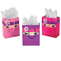 PINK NINJA PARTY~ Small Gift or Party Bag with Cord Handles and Tag - pack of 3 - Free Delivery