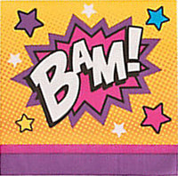 SUPERHERO PARTY Bam Pink Beverage Napkins Serviettes 3 ply Pk of 16