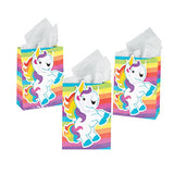 UNICORN PARTY - Unicorn Gift Bag with Cord Handles 16cm x 23cm Pack of 3 - Free Delivery