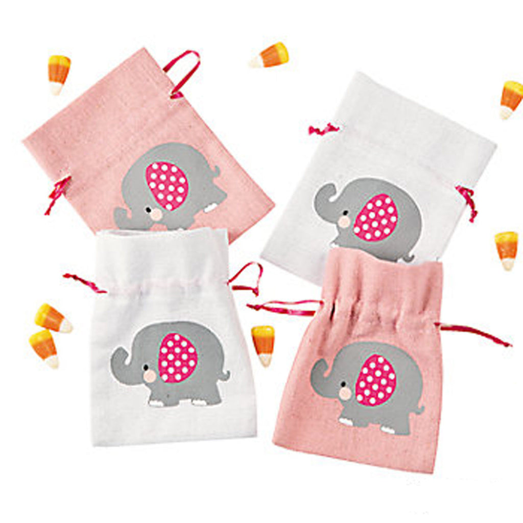 BABY PINK ELEPHANT PARTY ~ Mini Pink Elephant Drawstring Bags - pack of 4 - Free Delivery