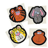 JUNGLE SAFARI PARTY Zoo Animal Wiggly Eyes Stickers Favour Pk of 12 Free Postage