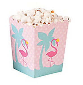 PINK FLAMINGO PARTY Mini Popcorn Favour Box Gift Boxes Pack of 6 Free Postage