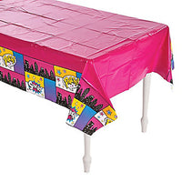 SUPERHERO PARTY Pink Table Cover Plastic Tablecloth 137cm x 274cm Free Postage