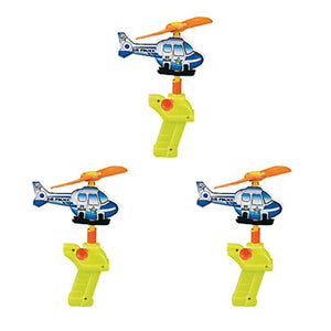 POLICE PARTY Foam Toy Helicopter Power Launcher Gift Favour Pack of 3 Free Post