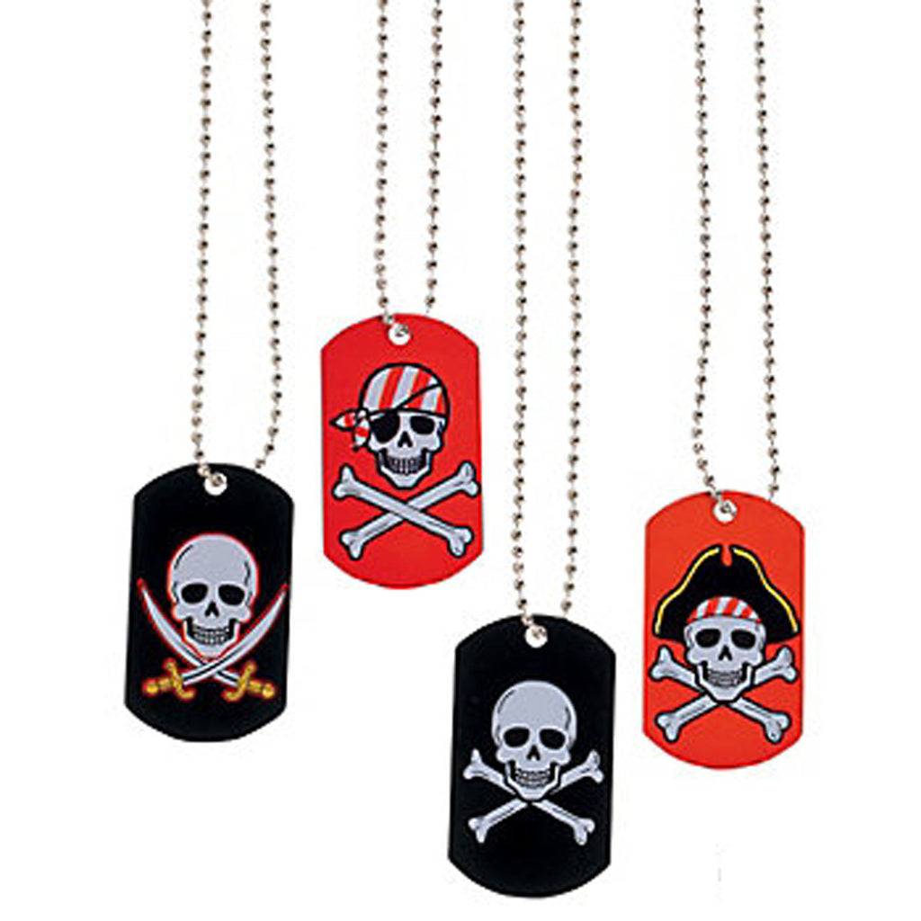 PIRATE PARTY Skull and Crossbones Dog Tag Necklaces Metal Pack of 4 Free Postage