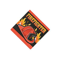 FIREFIGHTER PARTY Fireman Disposable Beverage Napkins Serviettes 3 Ply Pk of 16