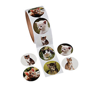 CAT PARTY Photo Realistic Cat & Kitten Stickers Favours Pack of 50 Free Postage