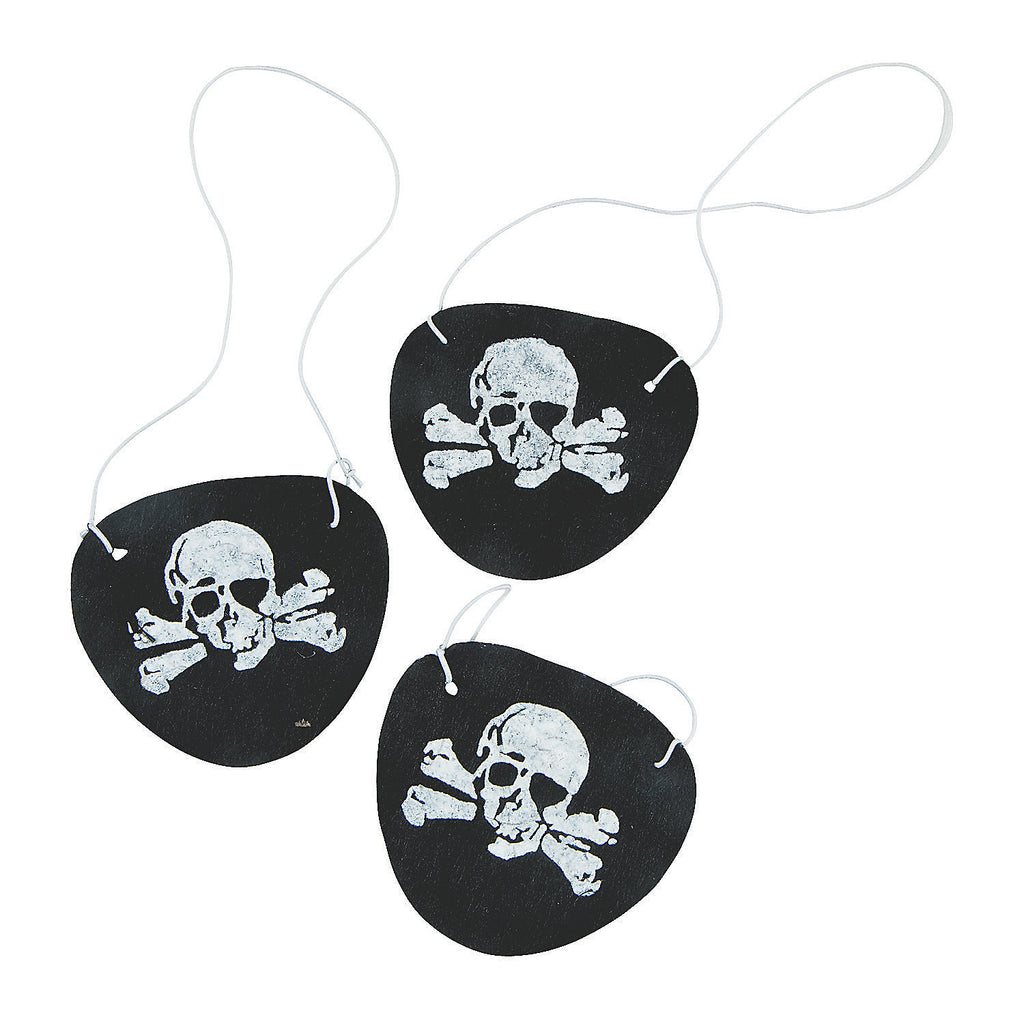 PIRATE PARTY Pirates Skull and Crossbone Felt Eye Patches Pack of 6 Free Postage