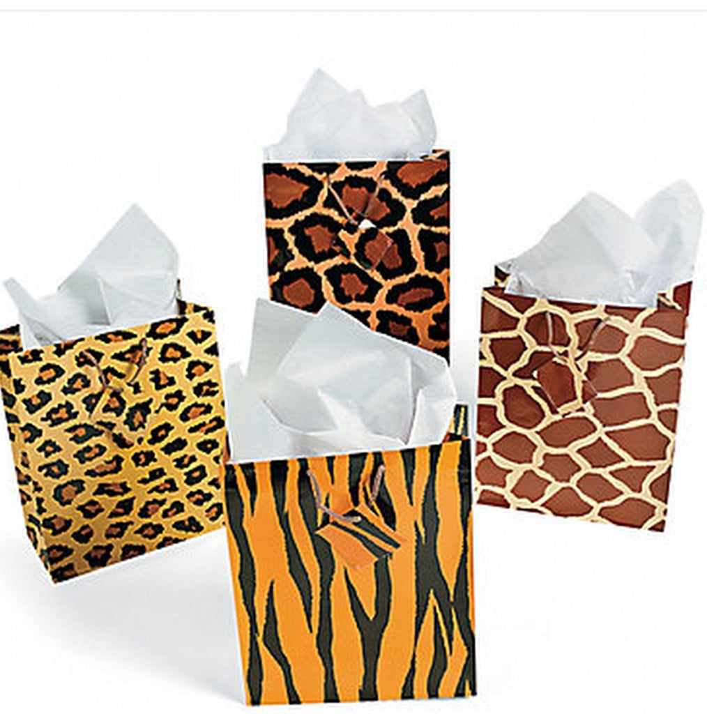 JUNGLE SAFARI Animal Print Gift Favour Bag Cord Handles Pack of 4 Free Postage