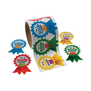 Good Reader Reward Badge Sticker Large Coloured Stickers School Favours Pack 20