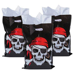 Large Pirate Plastic Bags Skull Crossbones 30cm x 43cm Pack of 10 Free Postage