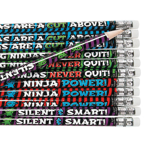 NINJA PARTY Wooden Learning Pencils with Eraser Pack of 12 Favours Free Postage