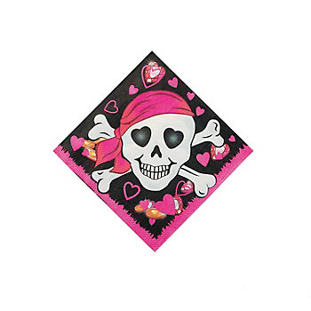 PINK PIRATE PARTY Napkins Beverage Cocktail 3Ply Pirates Pack of 16 Free Postage