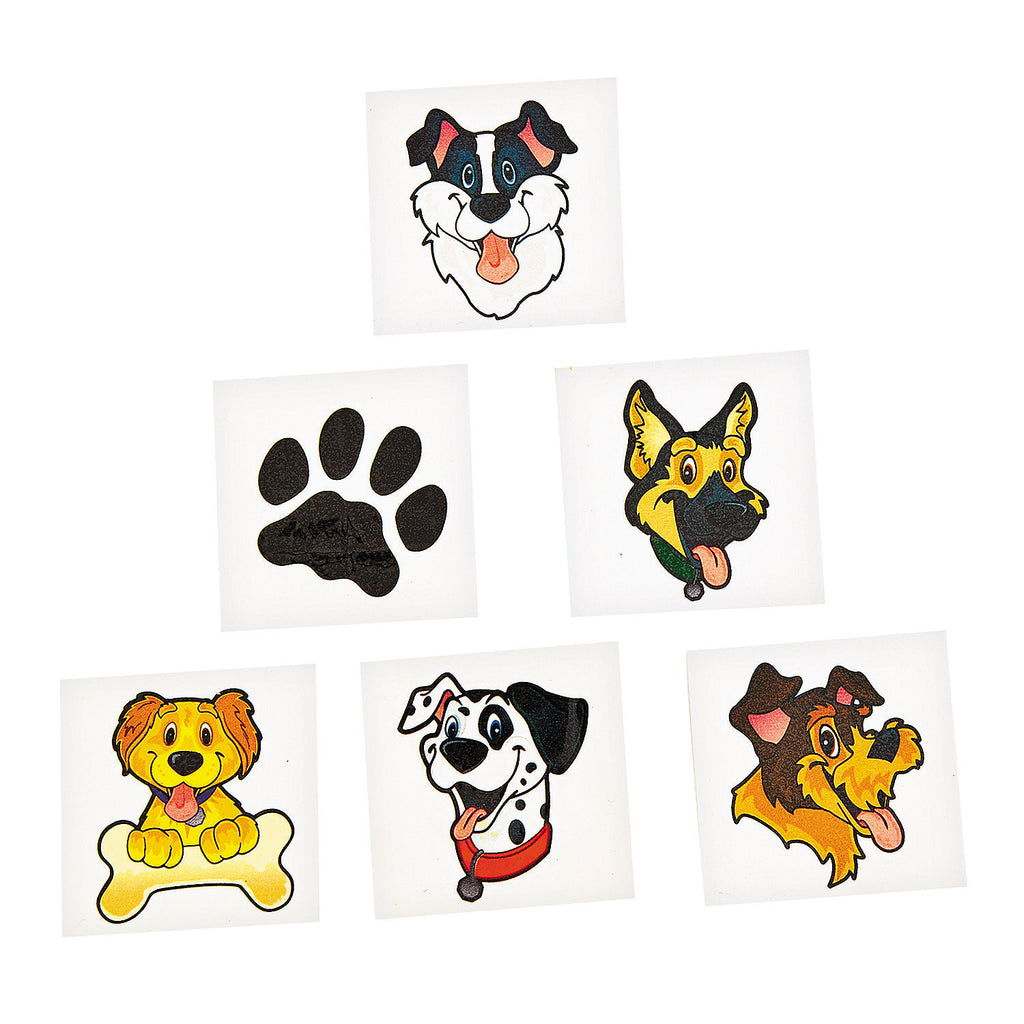 DOG and PUPPY Tattoos Temporary Dogs Paw Tattoo Party Favours Pk of 36 Free Post