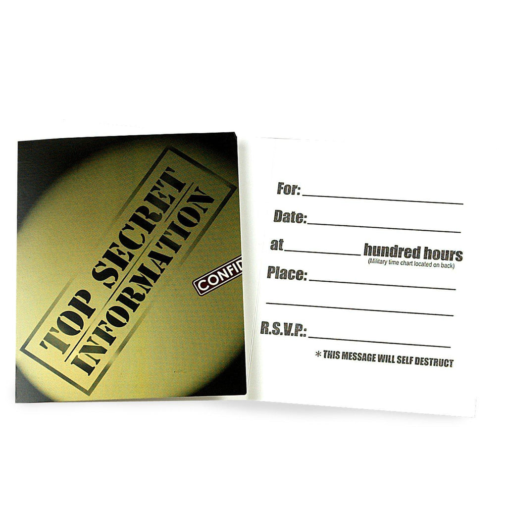 SECRET AGENT PARTY Invites Spy Invitations with Envelopes Pack of 8 Free Postage
