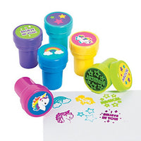 Unicorn Stampers Party Ink Stamps Activity Fun Inking Stamp Favours Pack of 6