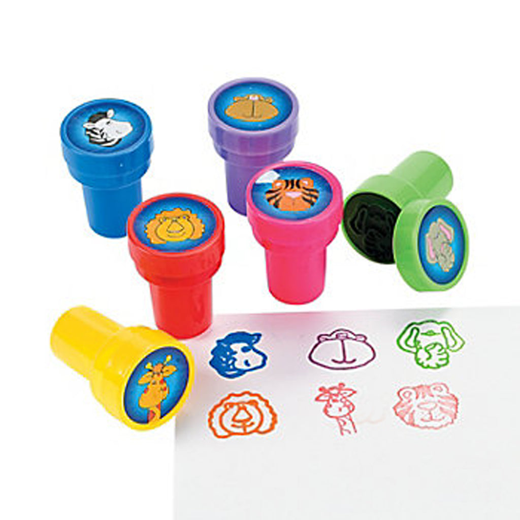 JUNGLE SAFARI PARTY Stampers Zoo Animal Ink Stamps Great Party Favours Pack of 6