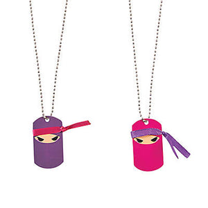 PINK NINJA PARTY Metal Ninjas Dog Tag Necklace Favours Dogtags Pk of 4 Free Post