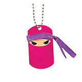 PINK NINJA PARTY Metal Ninjas Dog Tag Necklace Favours Dogtags Pk of 12 Free Post