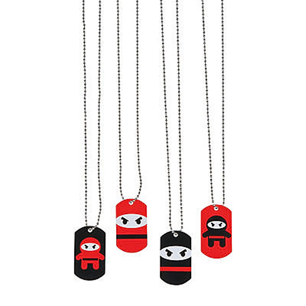NINJA PARTY Metal Ninjas Dog Tag Necklace Gift Favours Dogtags Pk of 4 Free Post