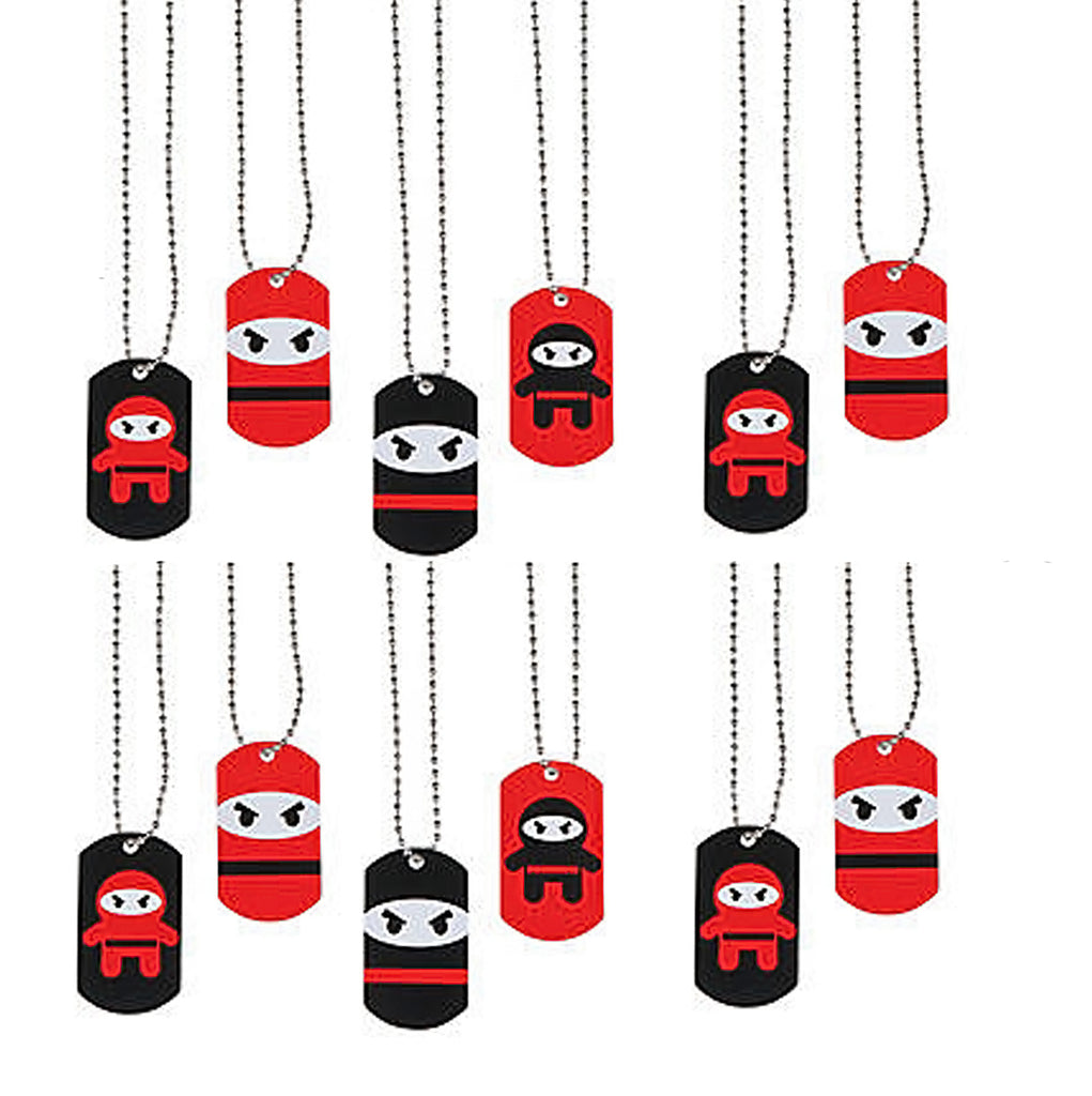 NINJA PARTY Metal Ninjas Dog Tag Necklace Gift Favours Dogtags Pk of 12 Free Post