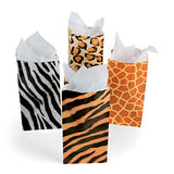 JUNGLE SAFARI PARTY Animal Print Paper Bags Zebra Tiger Pack of 12 Free Postage