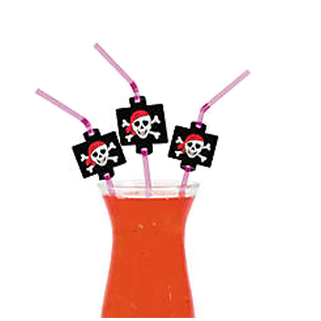 PINK PIRATE PARTY Jolly Roger Straw Pirates Plastic Straws Pack of 12 Free Post