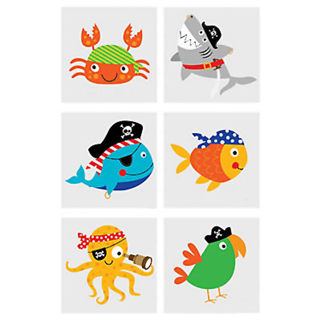 PIRATE PARTY FAVOUR Animal Pirates Tattoos Kids Temporary Pack of 36 Free Post