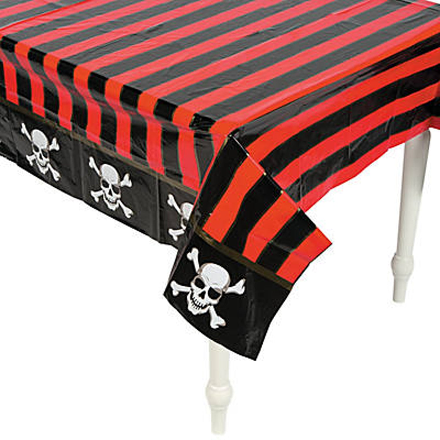 PIRATE PARTY Table Cover Tablecloth Black Red Plastic Table Cloth Free Postage  sc 1 st  Party by Post & PIRATE PARTY Red Stripe Table Cover Tablecloth Plastic Tablecloth ...