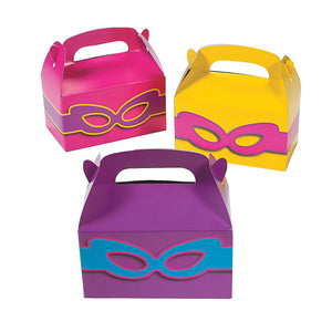 Pink Superhero Party Treat Boxes Colourful Masks Favour Gift Box Pack of 6 Free Post