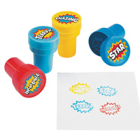 SUPERHERO PARTY Stampers Ink Stamp Super Hero Stamper Favours Pack of 6