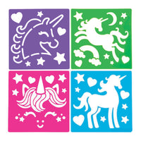 UNICORN PARTY Stencils Unicorns Plastic Stencil Favour Pack of 12 Free Postage