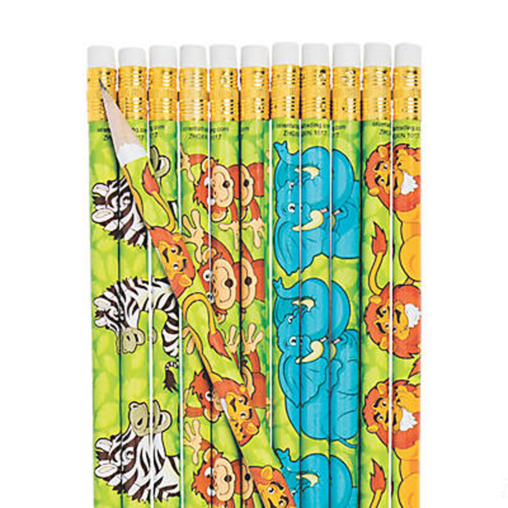 ZOO ANIMAL PARTY Jungle Animals Pencil and Eraser Pk of 12 Pencils Free Postage