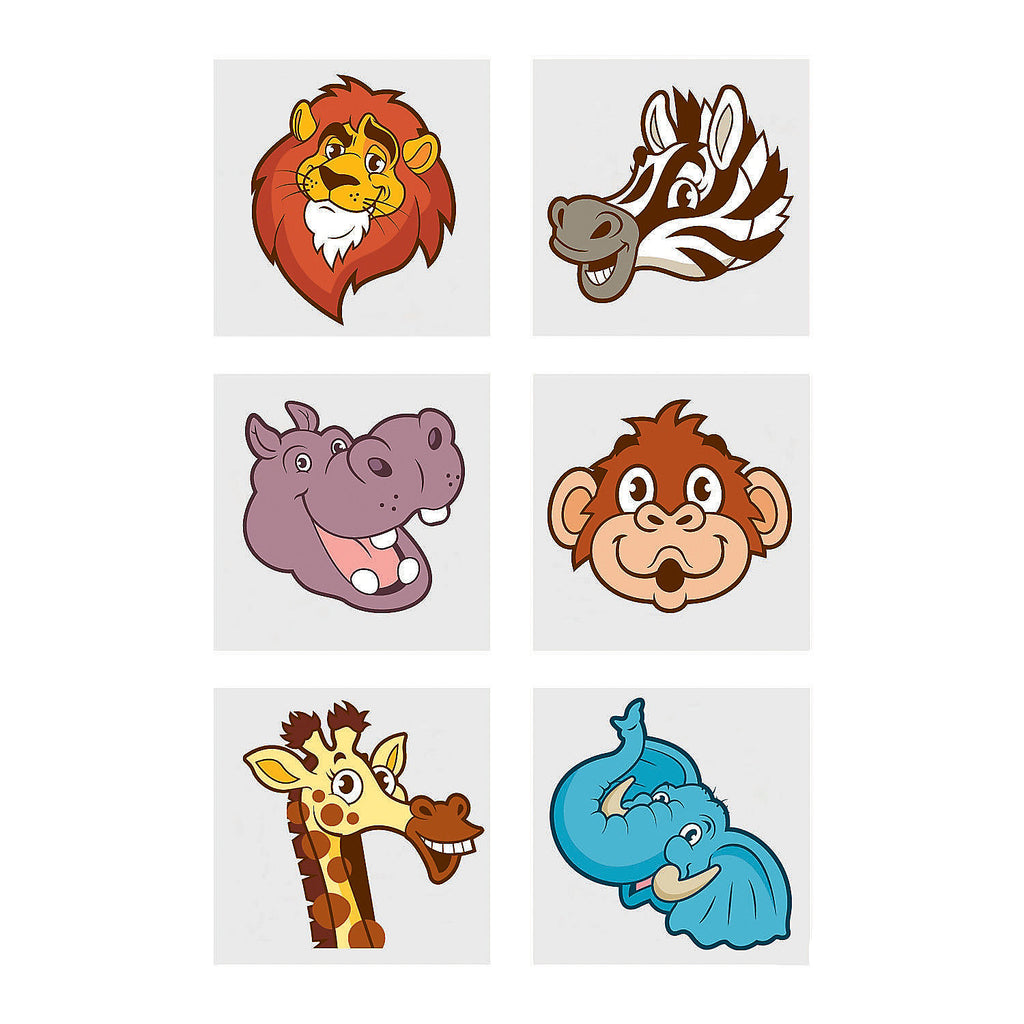 JUNGLE SAFARI PARTY Zoo Animals Tattoos Favours Tattoo Pack of 36 Free Postage