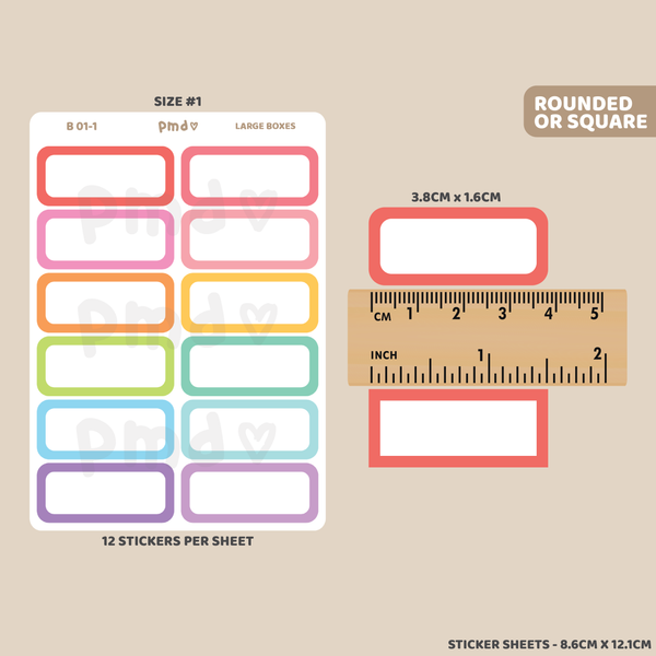 Box #1 Stickers | Rounded Coloured Border Box | B01