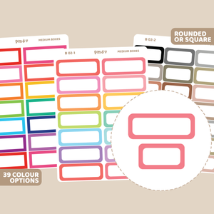 Box #2 Stickers | Squared Coloured Border Box | B02