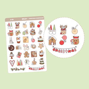 Pastel Christmas Stickers | D09