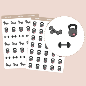 Weights Stickers | Hand Drawn Icons | HD08