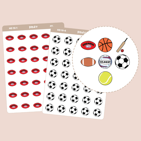 Sport Ball Stickers | Hand Drawn Icons | HD10