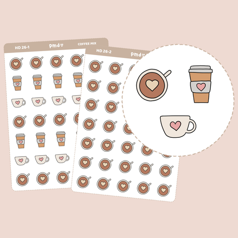 Coffee Stickers | Hand Drawn Icons | HD26