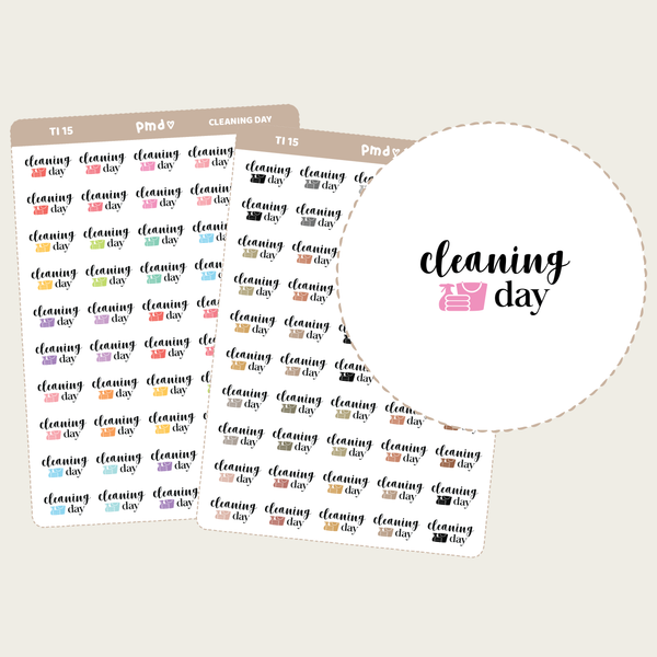 Cleaning Day Text/Icon Stickers | TI15