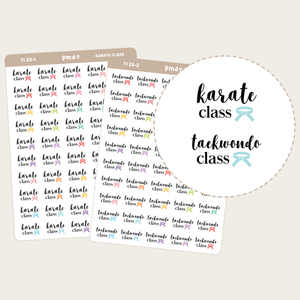 Karate & Taekwondo Class Text/Icon Stickers | TI25