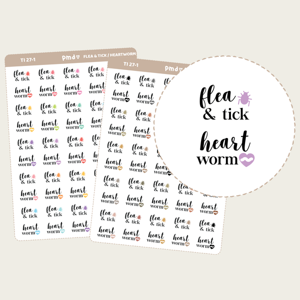 Flea & Tick/Heartworm Medication Text/Icon Stickers | TI27